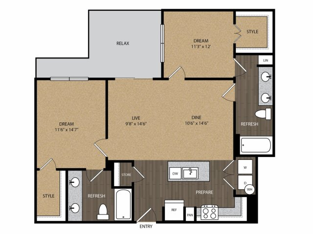 1,035 sq. ft. Hawthorne B1 floor plan