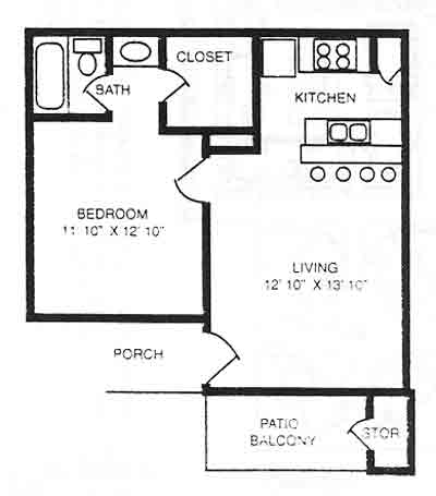 525 sq. ft. A1 floor plan