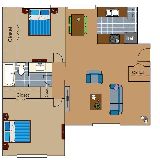 746 sq. ft. AB2 floor plan