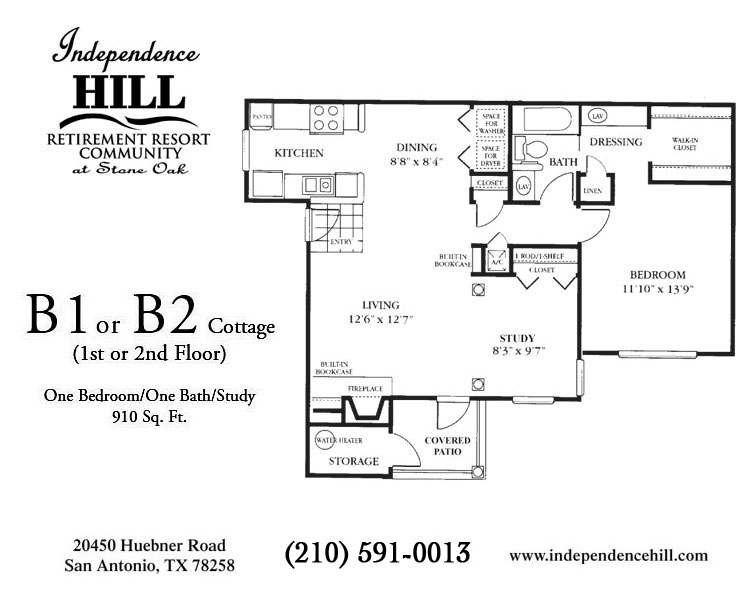 910 sq. ft. Cottage floor plan