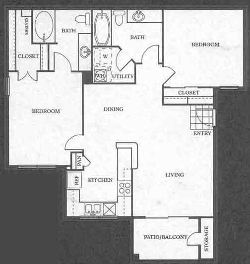 996 sq. ft. B2 floor plan