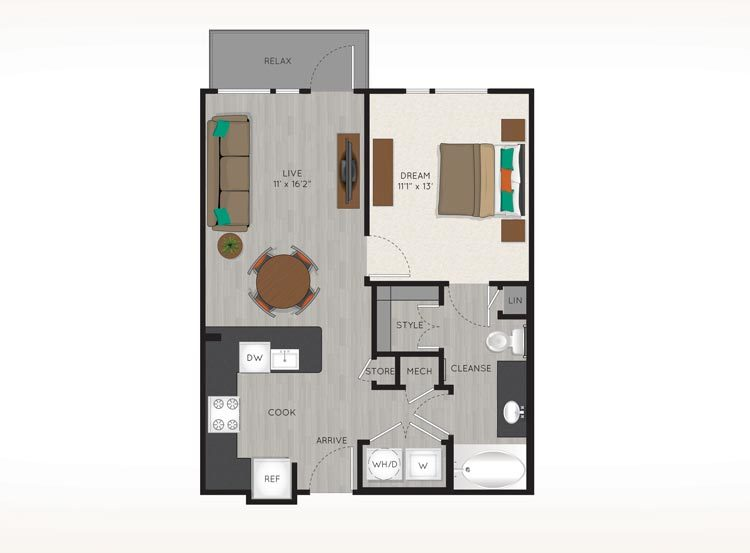 644 sq. ft. to 679 sq. ft. A2 floor plan