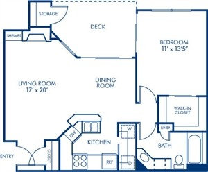 740 sq. ft. 1A floor plan
