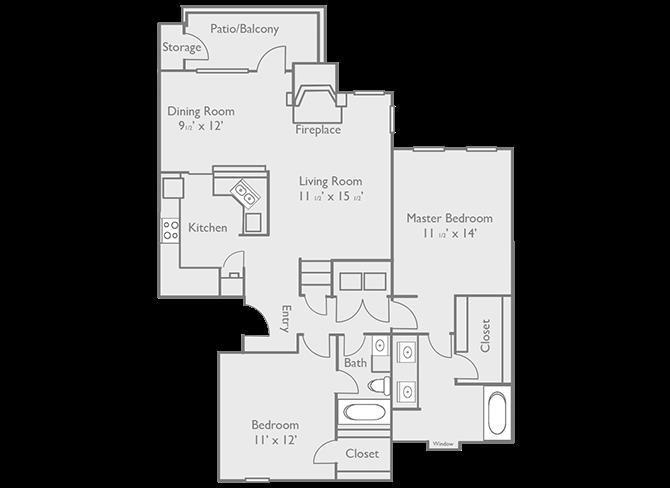 1,137 sq. ft. C3 floor plan