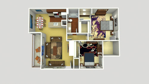 1,138 sq. ft. 2x1 B floor plan