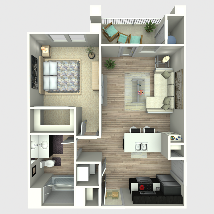 639 sq. ft. A2 floor plan