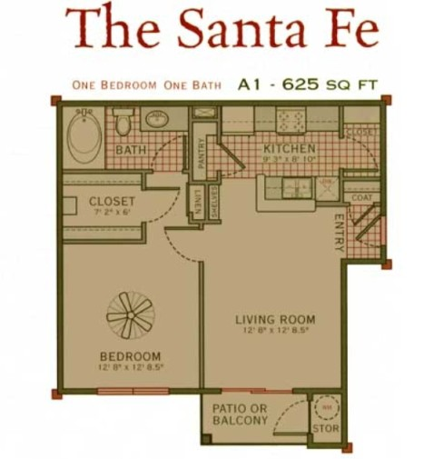 625 sq. ft. Santa Fe floor plan