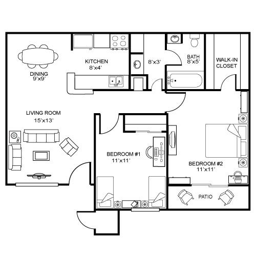 850 sq. ft. B1W floor plan