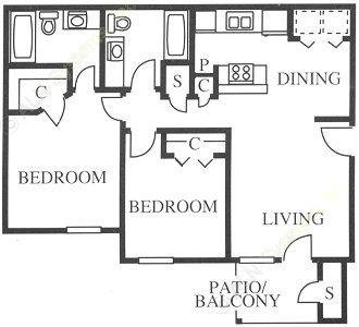 835 sq. ft. B2 floor plan