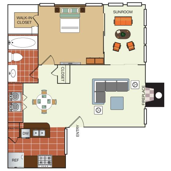 768 sq. ft. 1K floor plan
