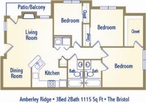 1,116 sq. ft. BRISTOL floor plan