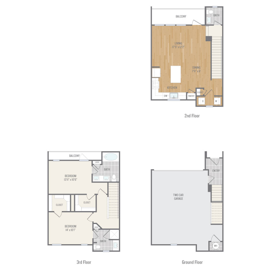 1,372 sq. ft. TH1 floor plan