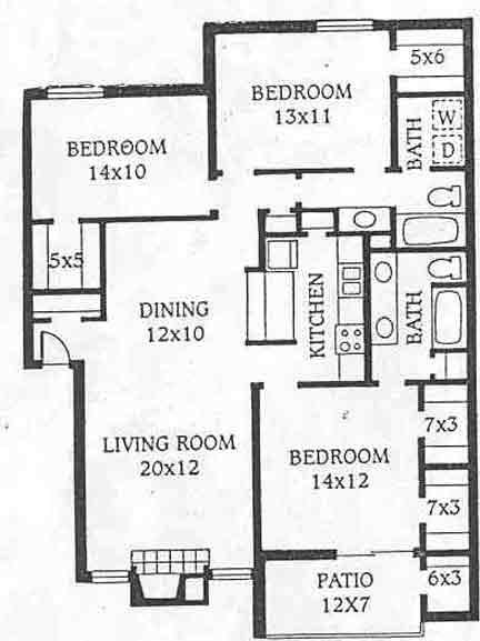 1,392 sq. ft. D1 floor plan
