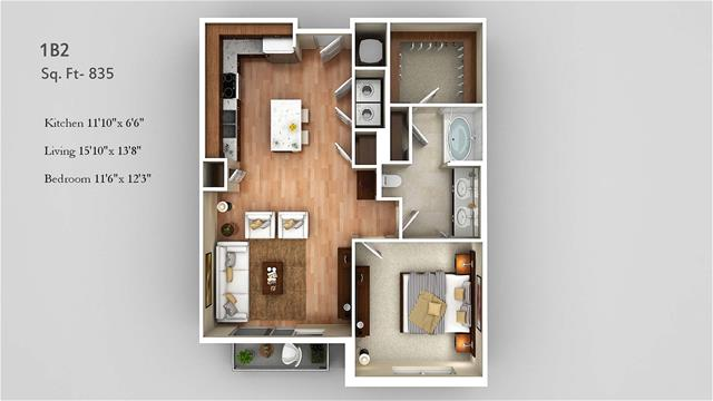 835 sq. ft. 1B2 floor plan