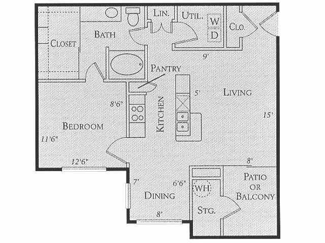 830 sq. ft. to 910 sq. ft. C floor plan