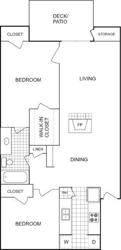 900 sq. ft. Loft floor plan
