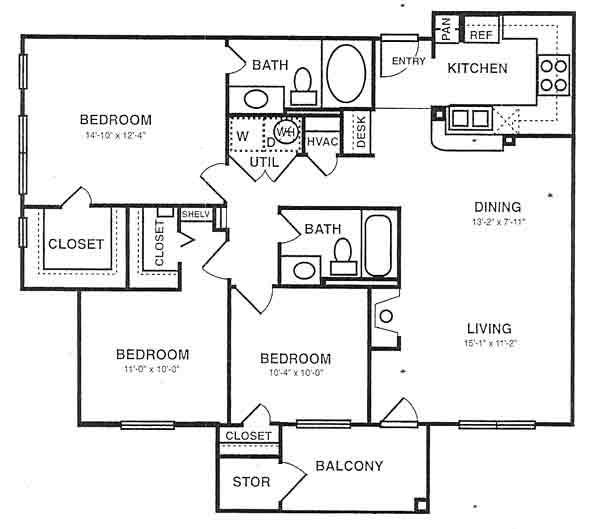 1,215 sq. ft. C1 floor plan