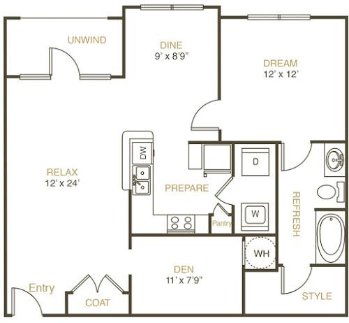 983 sq. ft. A2 floor plan