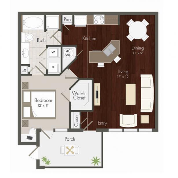 864 sq. ft. Westgreen floor plan