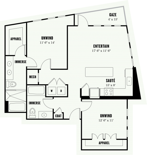 1,154 sq. ft. L2 floor plan