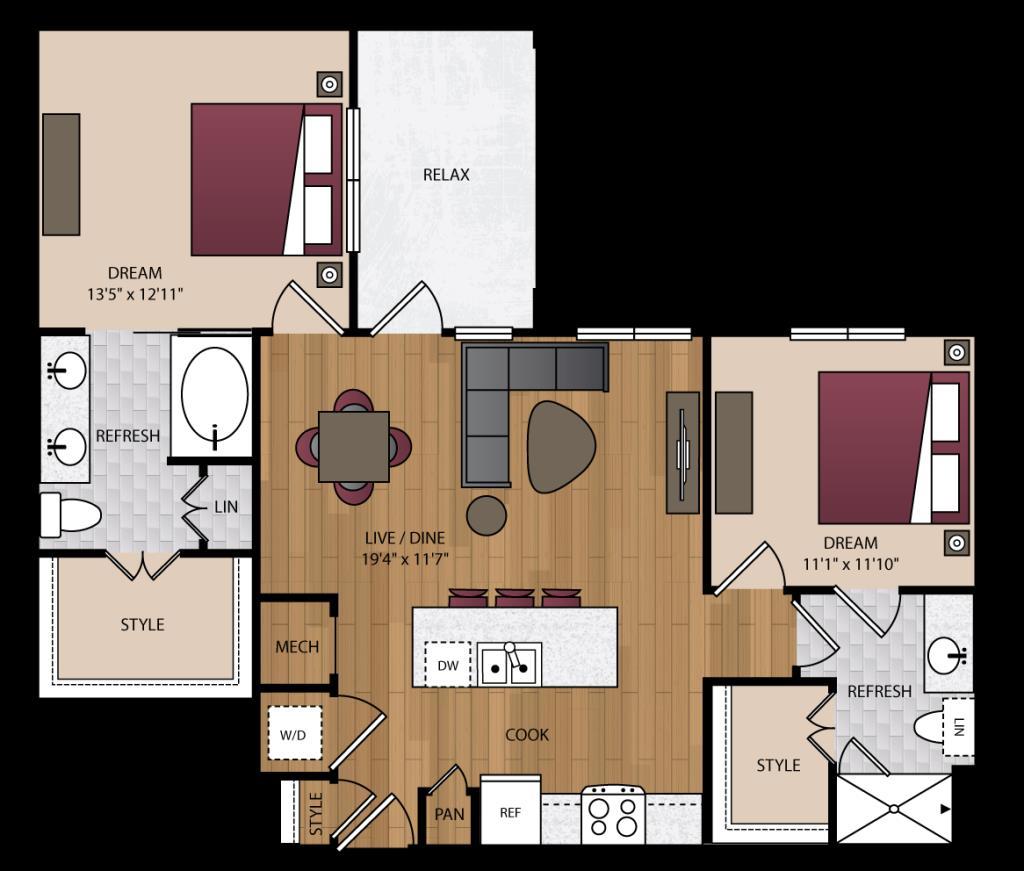 1,067 sq. ft. B2.1 floor plan