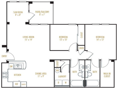1,035 sq. ft. Monte Carlo floor plan