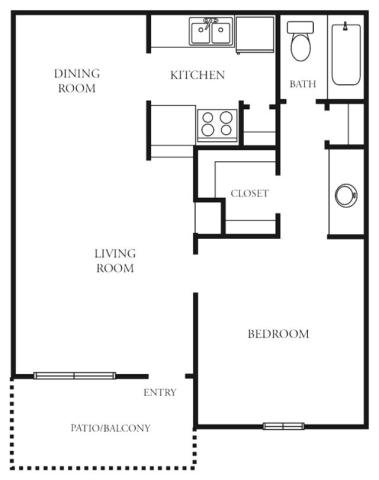 554 sq. ft. to 578 sq. ft. A floor plan