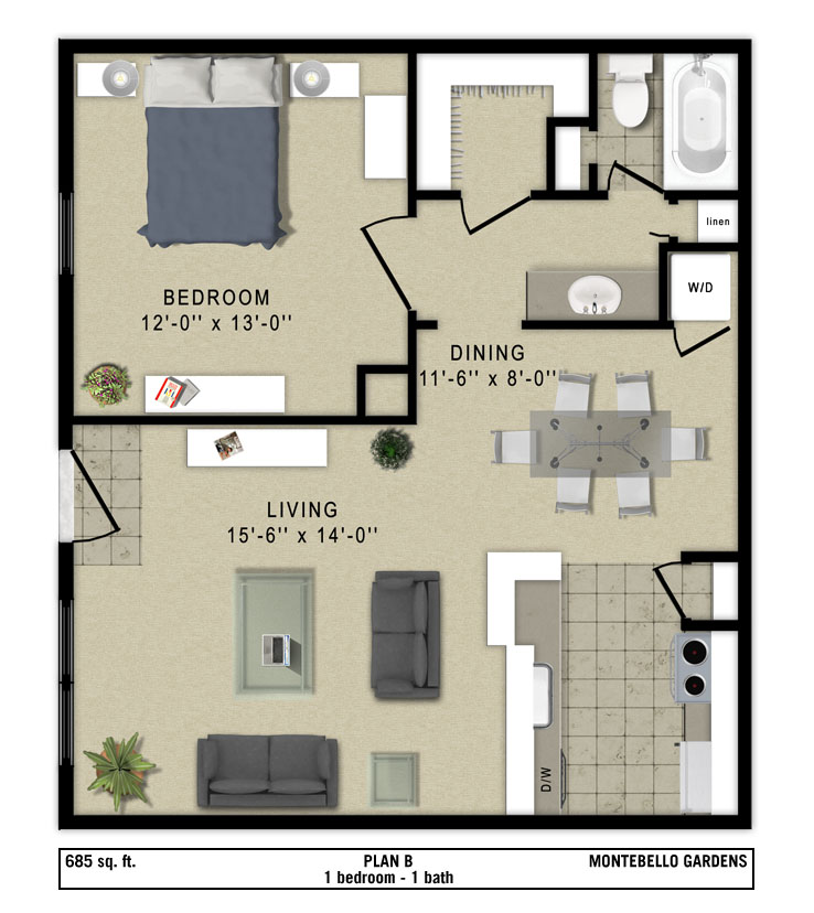 685 sq. ft. Napoli floor plan