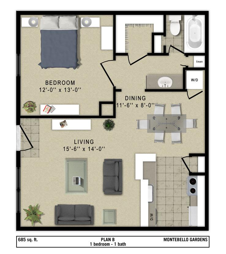 685 sq. ft. Napoli floor plan