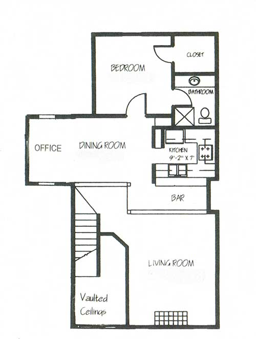 1,545 sq. ft. B2B floor plan