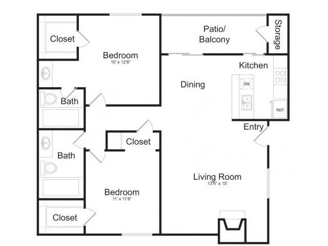 970 sq. ft. B4 floor plan