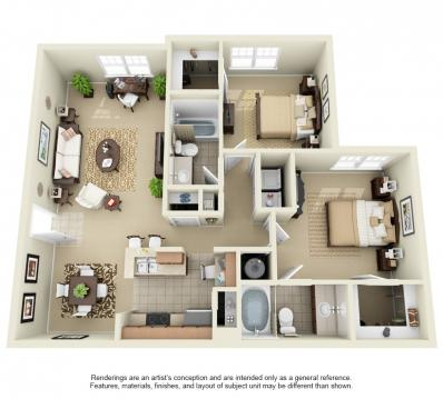 1,065 sq. ft. to 1,074 sq. ft. floor plan