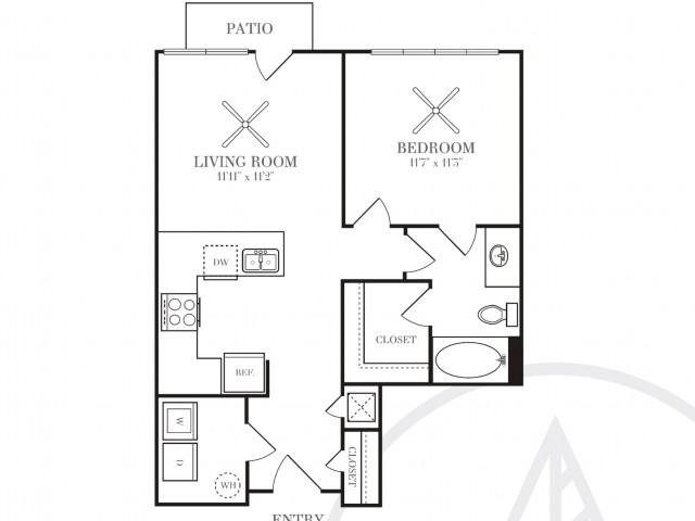 661 sq. ft. A1P floor plan