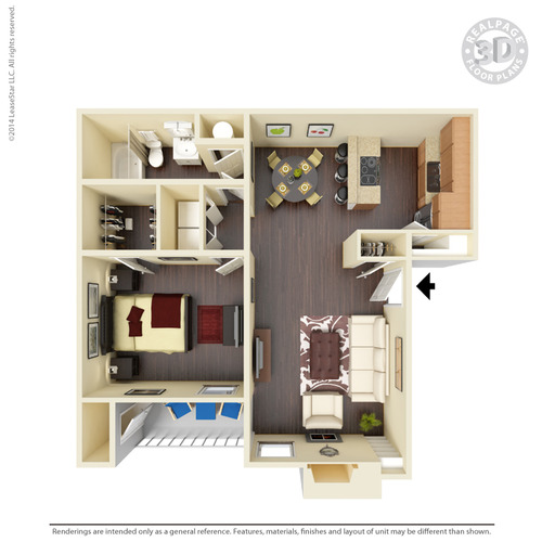 700 sq. ft. A6 floor plan