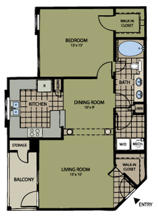 830 sq. ft. to 842 sq. ft. Colonial floor plan