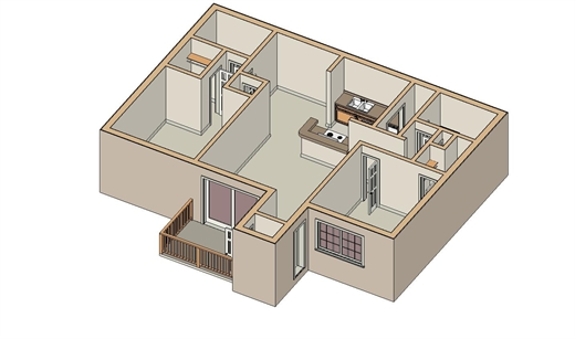 1,018 sq. ft. B-4 floor plan