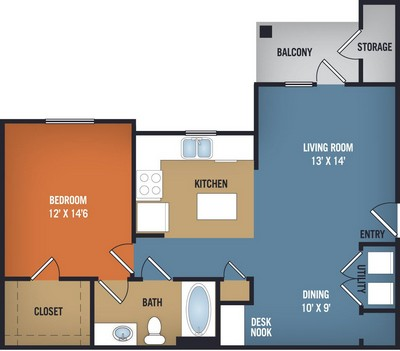 821 sq. ft. Sedona floor plan