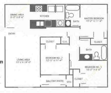 1,094 sq. ft. 3B/60% floor plan