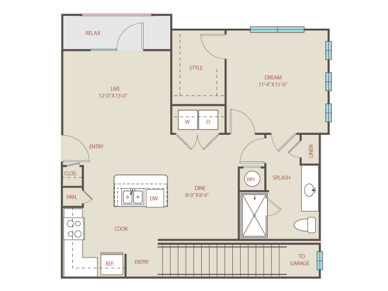 754 sq. ft. to 824 sq. ft. A3.B Aztec floor plan