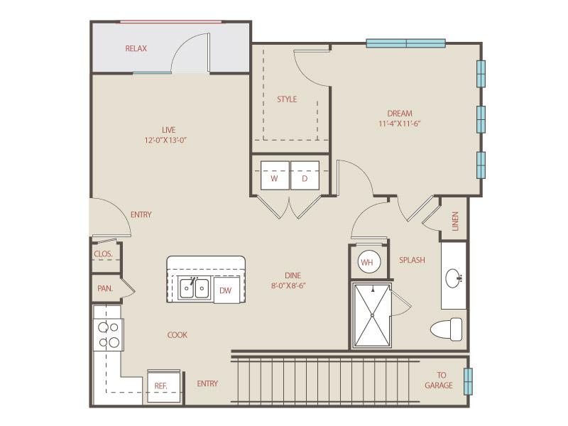 754 sq. ft. to 824 sq. ft. A3.B Aztec floor plan