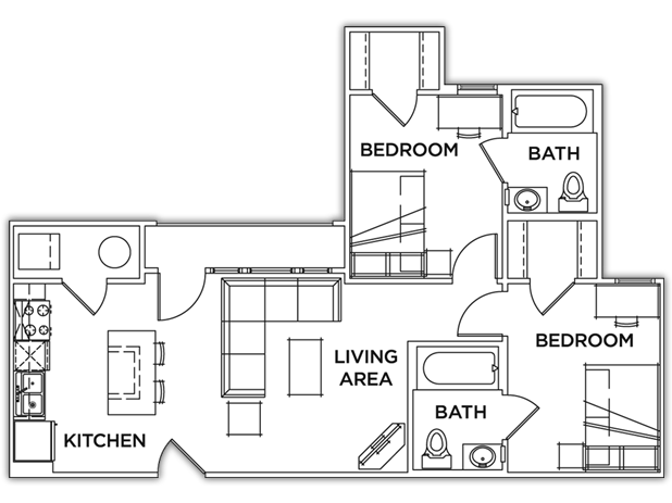 791 sq. ft. floor plan