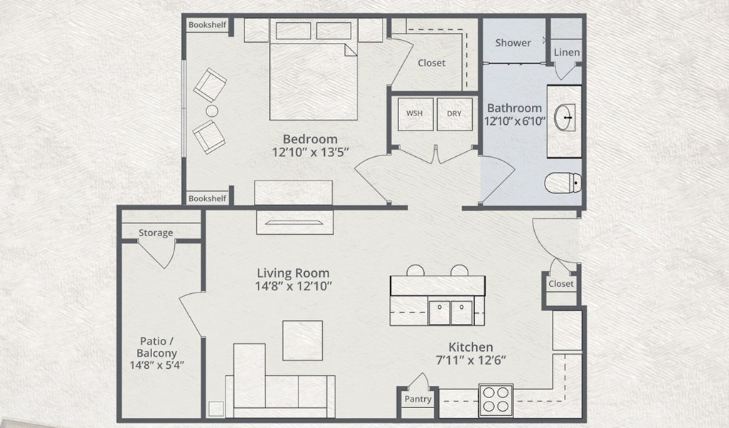 789 sq. ft. American floor plan