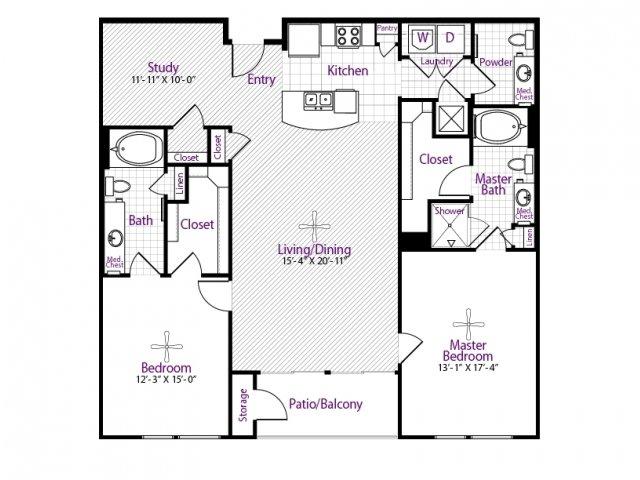 1,492 sq. ft. floor plan
