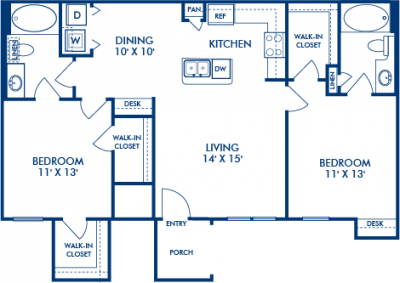 1,034 sq. ft. YELLOWSTONE floor plan