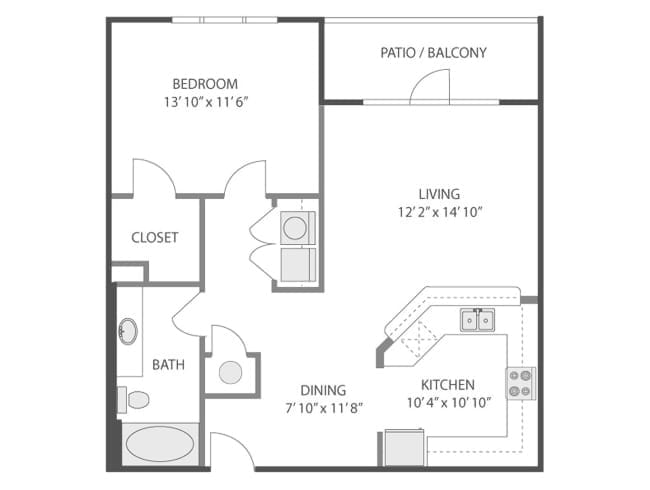 800 sq. ft. Concorde/A4 floor plan