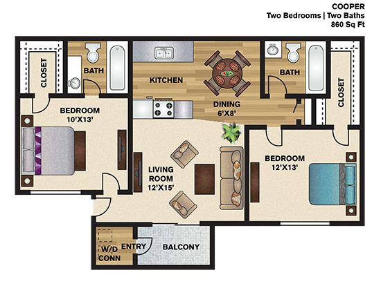860 sq. ft. C floor plan