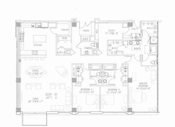 3,091 sq. ft. PH3 floor plan