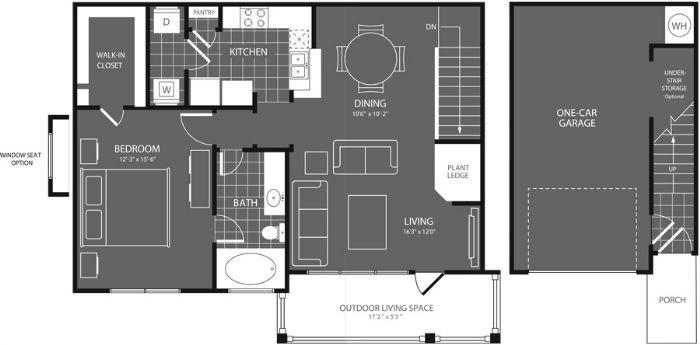 896 sq. ft. Maple floor plan
