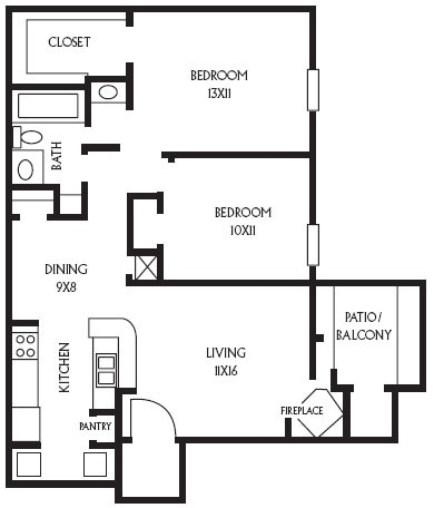 840 sq. ft. B4 floor plan