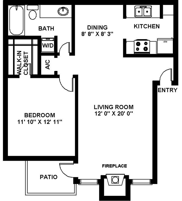 767 sq. ft. A-3 floor plan